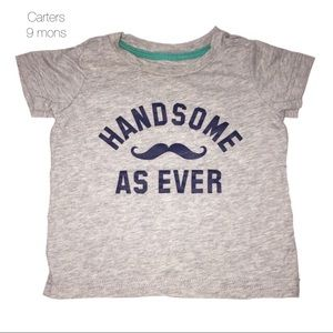 Carters Gray Handsome Mustache Shirt 9 mons